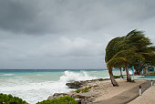the Caribbean coastline of Grand Cayman gets battered in a hurricane.