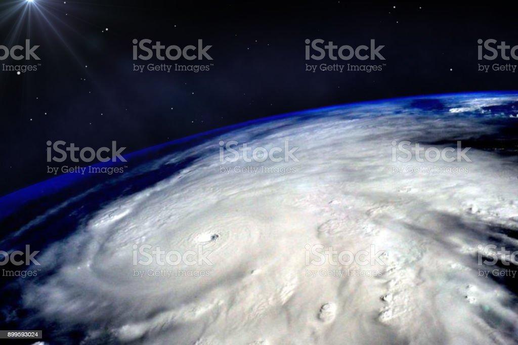 Wirbelsturm Taifun über Planet Erde betrachtet aus dem Weltraum. Elemente des Bildes sind von der NASA eingerichtet. – Foto