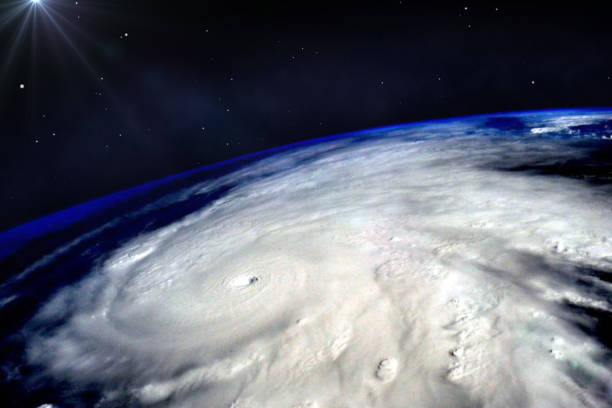 Hurricane typhoon over planet Earth viewed from space. Elements of image are furnished by NASA. stock photo