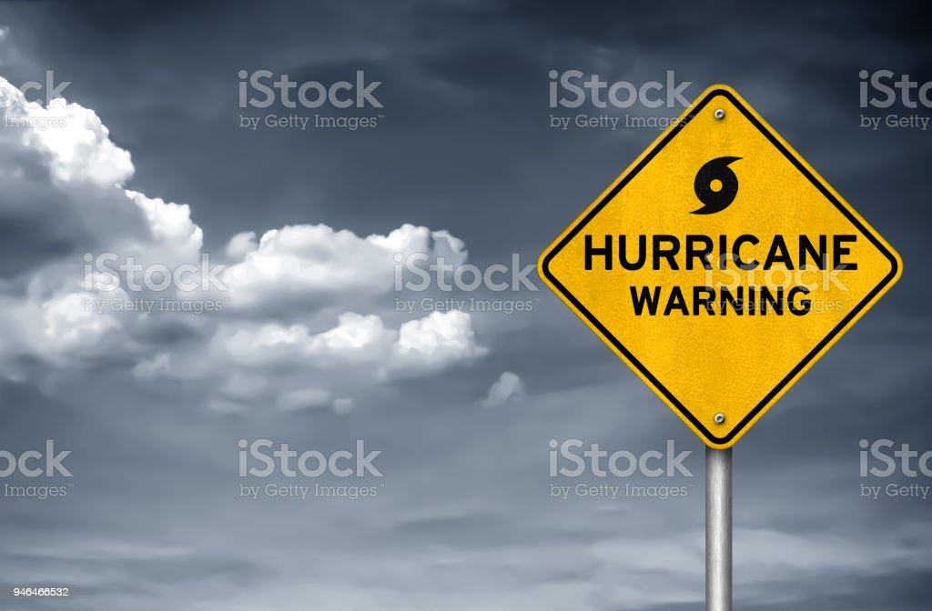 Hurricane warning road sign royalty-free stock photo