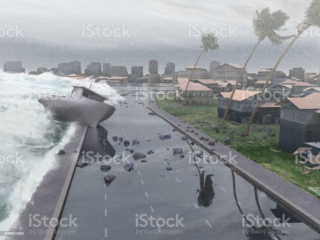 Hurricane whipping a city stock photo