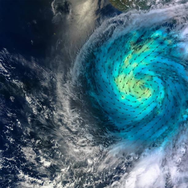 Hurrikan mit zugesetzter Windgeschwindigkeit Richtung Scheem. Blau-Grün zeigt den Geschwindigkeitsbereich an, mit leichteren Farbtönen, die stärkere Oberflächenwinde darstellen. Elemente dieses Bildes von der NASA zur Verfügung gestellt. – Foto
