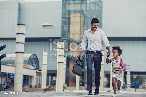 istock Hurry up baby, we are going late to school! 644956314