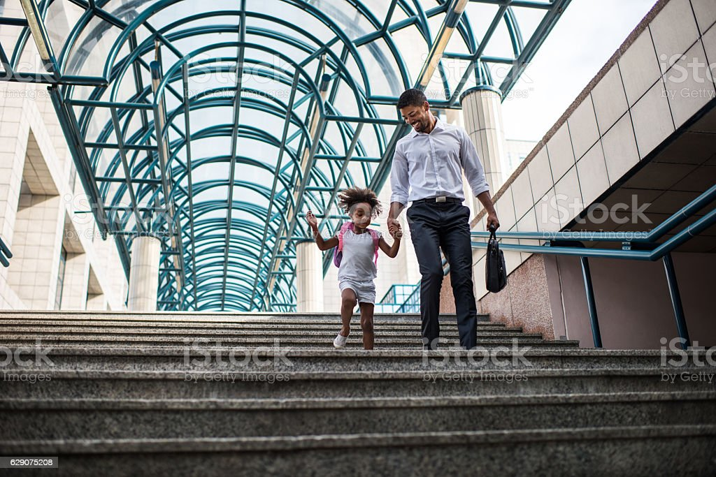 Hurry up daddy! stock photo
