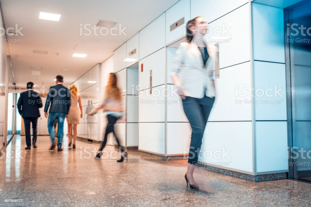 Hurrying to a meeting stock photo