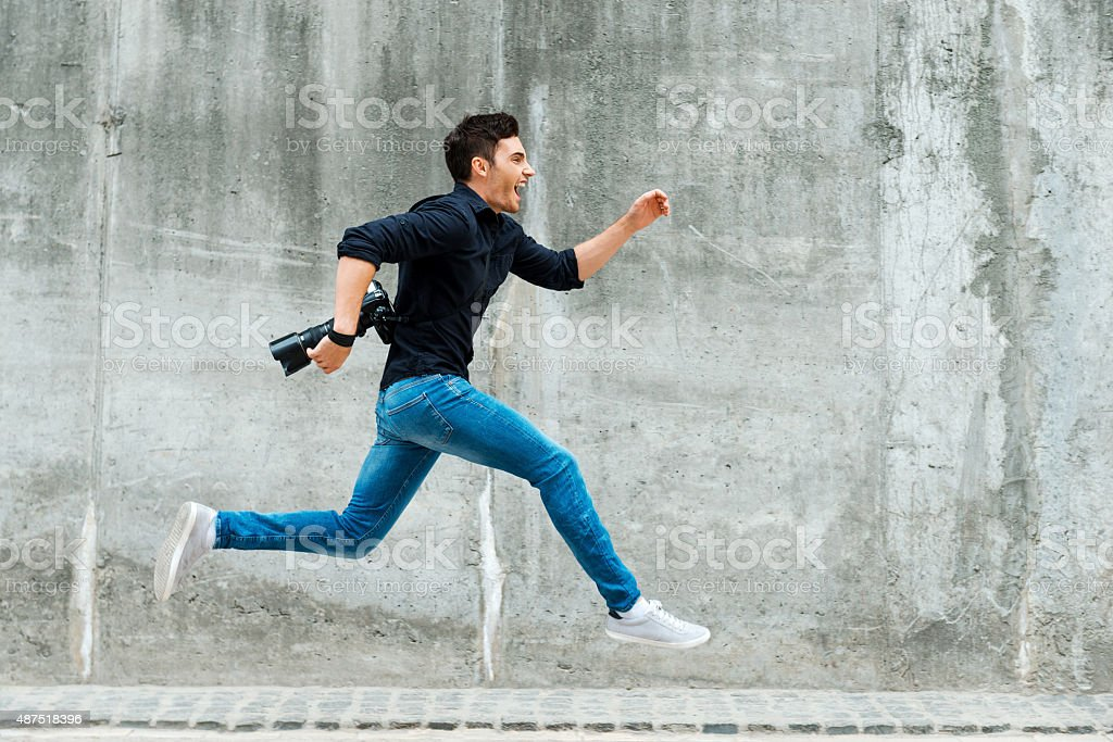 Hurrying to be first. stock photo