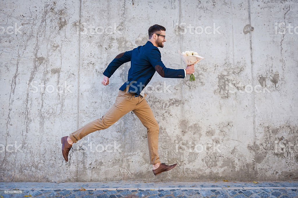 Hurrying to be in time. stock photo