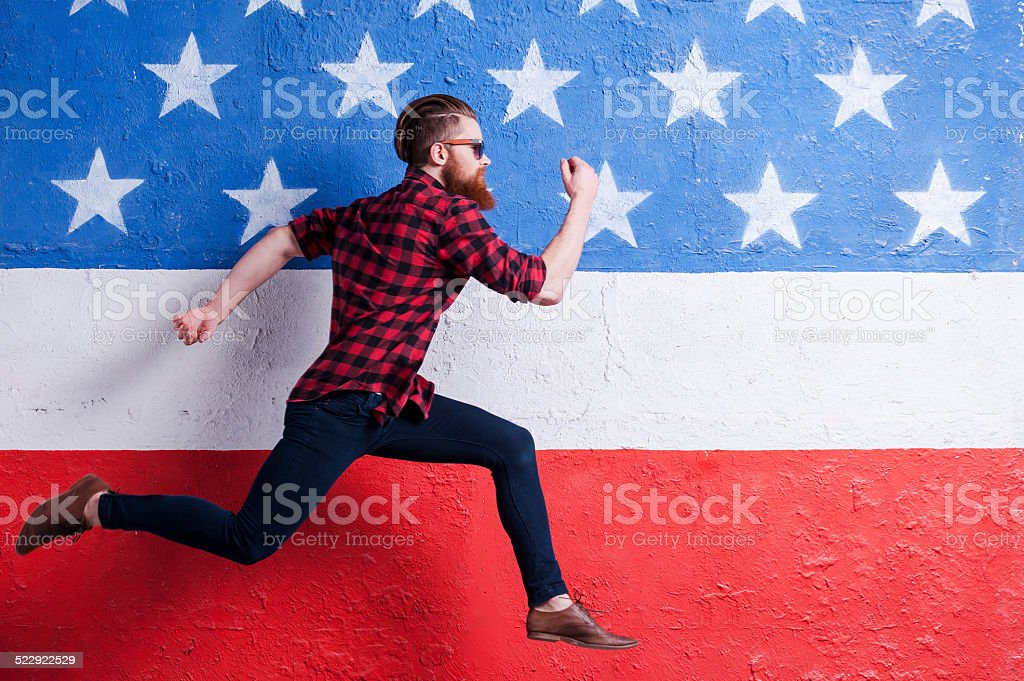 Hurrying to be in trend. stock photo