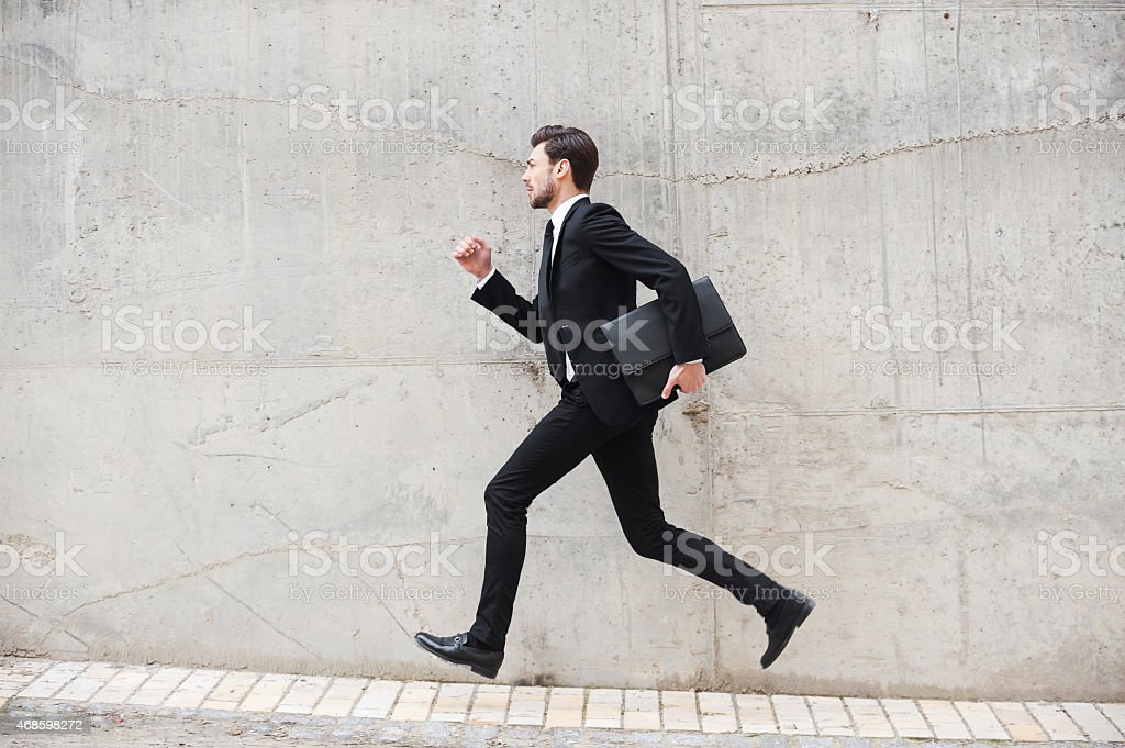 Hurrying to the new goals. stock photo
