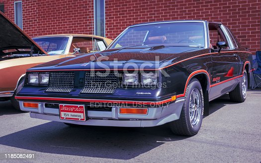 Windsor, Nova Scotia, Canada - August 4, 2019 : 1983 Hurst Olds 15th Anniversary Edition at Avon River Days Show & Shine, Windsor waterfront.