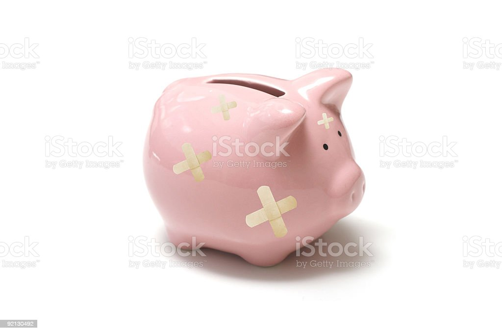 Hurt piggy bank royalty-free stock photo