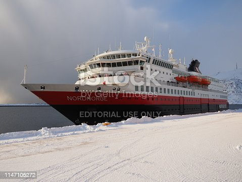 Honningsvag, Mageroya island, Finnmark county, Norway, 10 march 2019 : Hurtigruten (