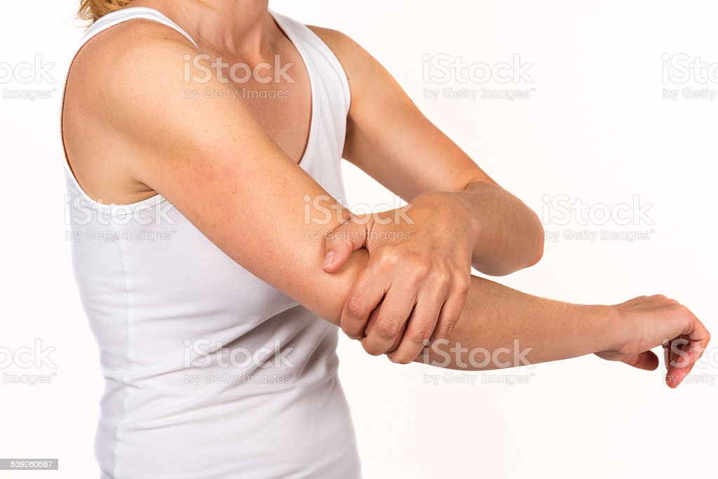 hurting elbow stock photo