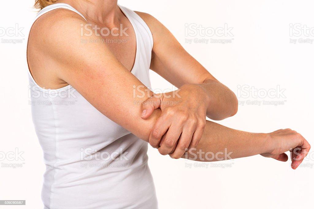 hurting elbow stock photo