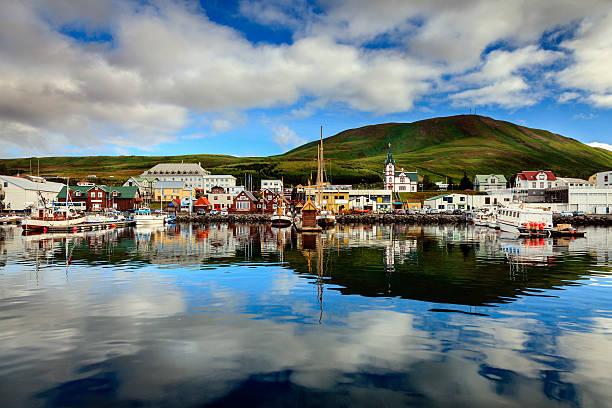 Husavik harbor stock photo