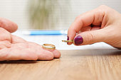 husband and wife are giving  wedding rings back, break up concept