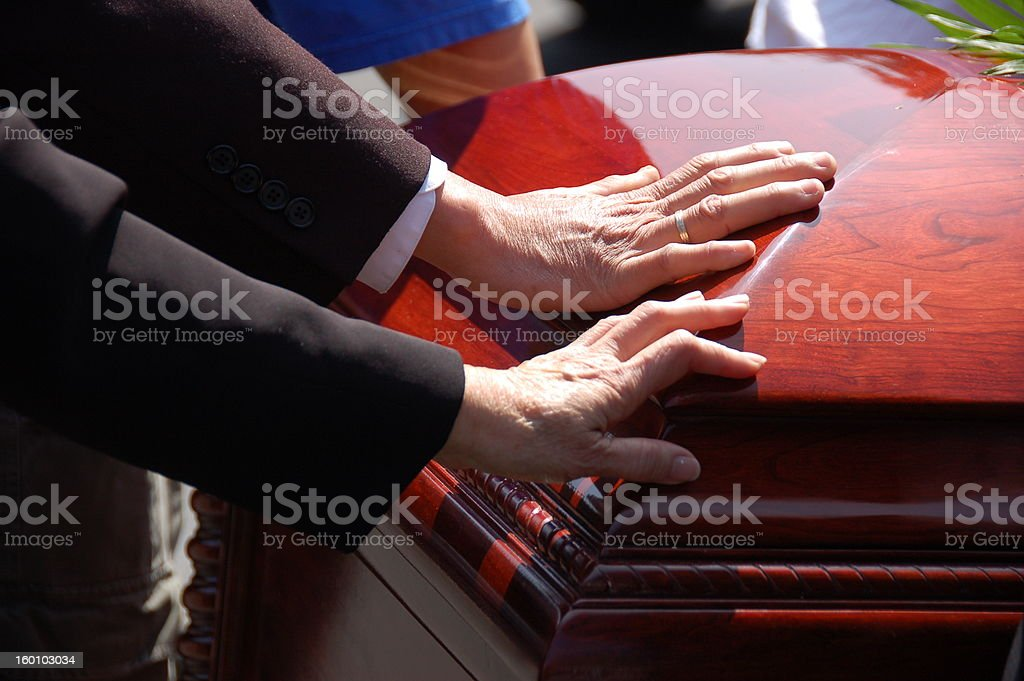 Husband and Wife Funeral Farewell stock photo