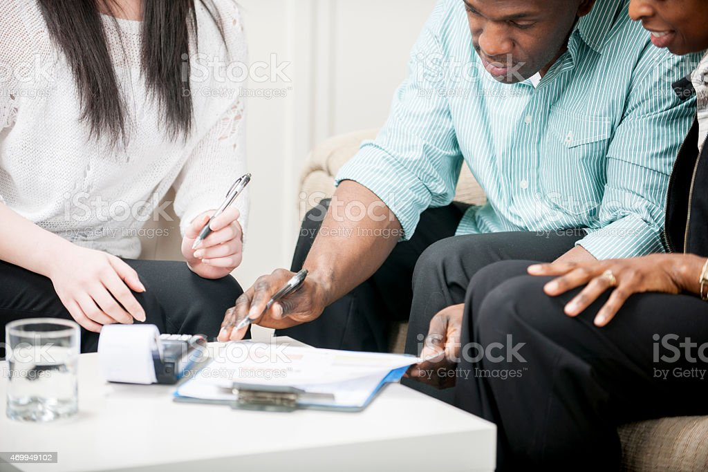Husband and Wife going over Taxes stock photo