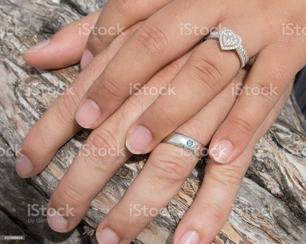 Husband And Wife Hands With Wedding Rings Stock Photo More