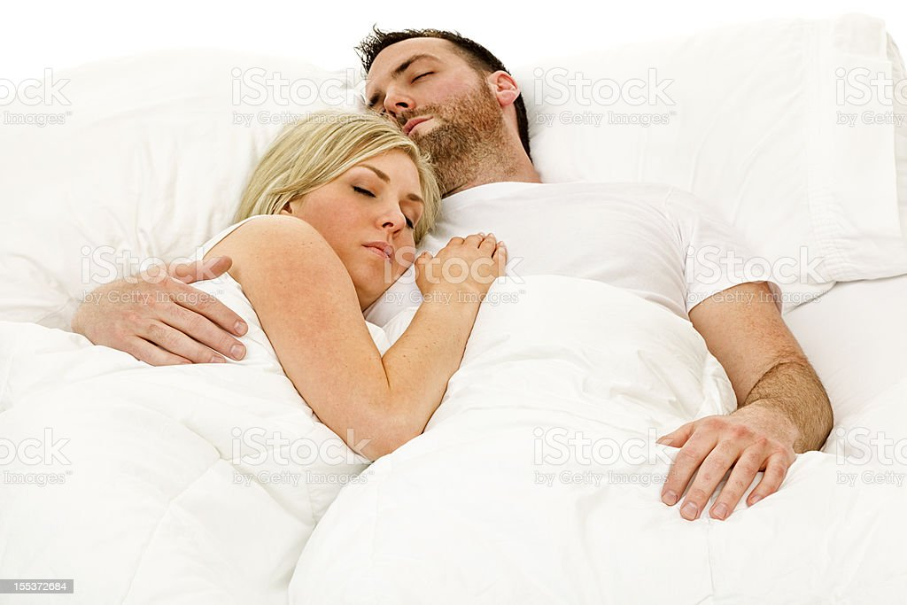 Husband And Wife In Bed Talking Loving Each Other Stock