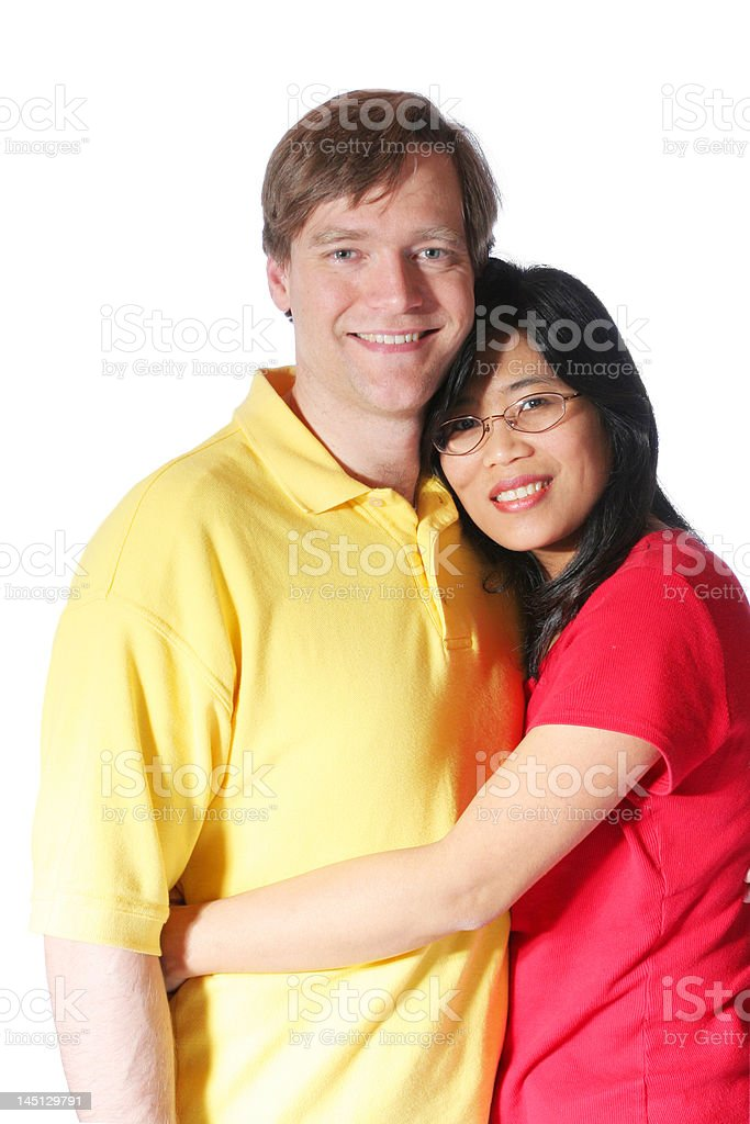 Husband and wife multiracial couple royalty-free stock photo