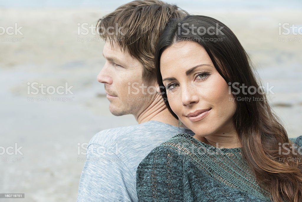 Husband And Wife On The Beach royalty-free stock photo