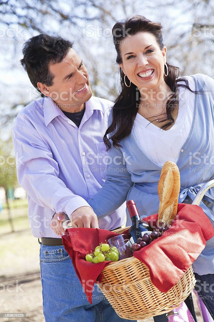 Husband and Wife Out at Park For a Picnic royalty-free stock photo