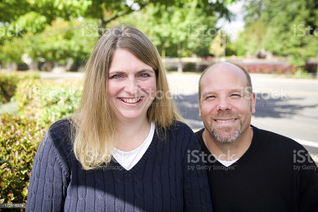husband and wife outside royalty-free stock photo