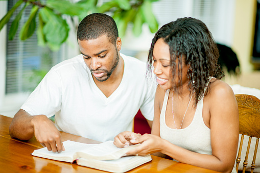Husband and Wife Studying the Bible