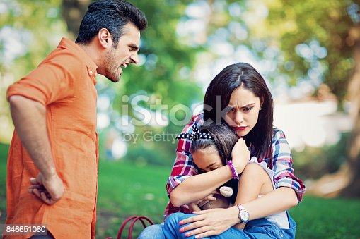 1166996797 istock photo Husband is arguing with wife at the front of their little daughter 846651060