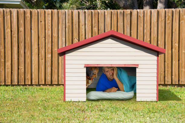 Husband or boyfriend man sleeping in the doghouse because of domestic problems stock photo