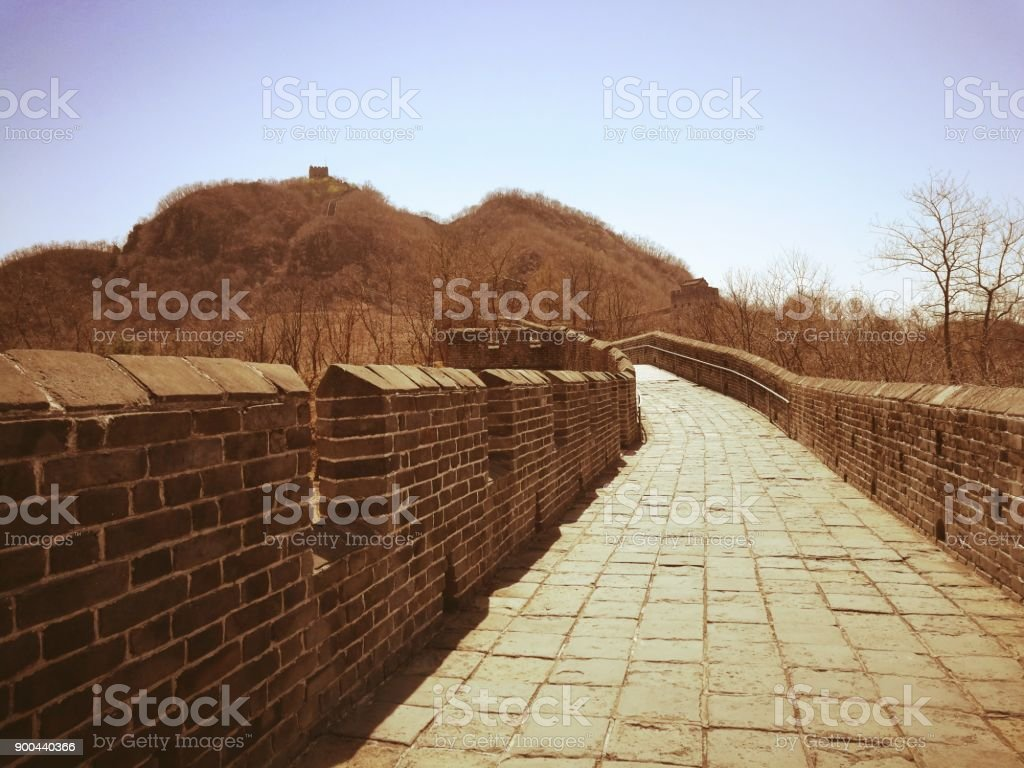 Hushan Great Wall in vintage style. stock photo