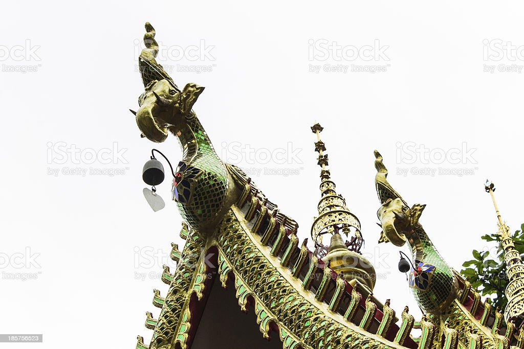 Hussadeeling Statues on Ubosot in Wat Fa Ham royalty-free stock photo