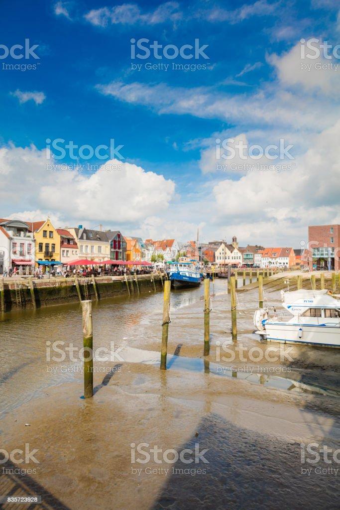 Husum harbour, Germany stock photo