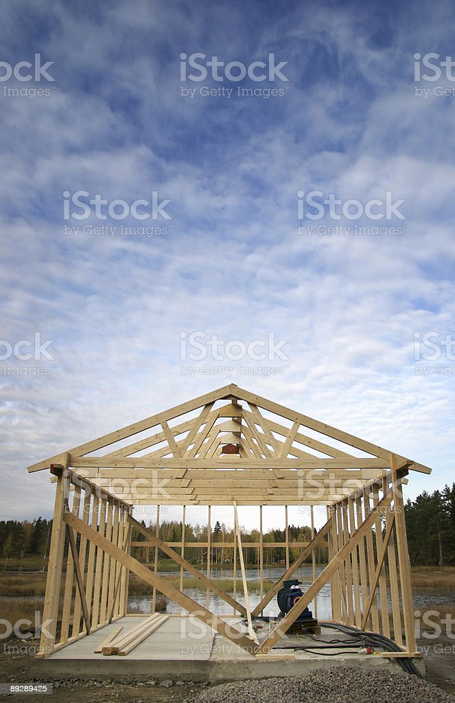Hut by the lake royalty-free stock photo