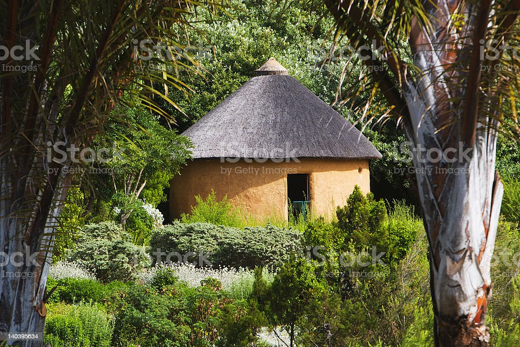 Hut in botanical garden royalty-free stock photo