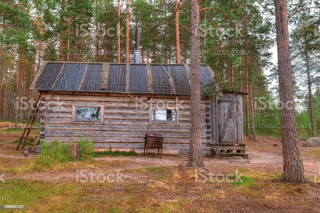 Hut in forest royalty-free stock photo