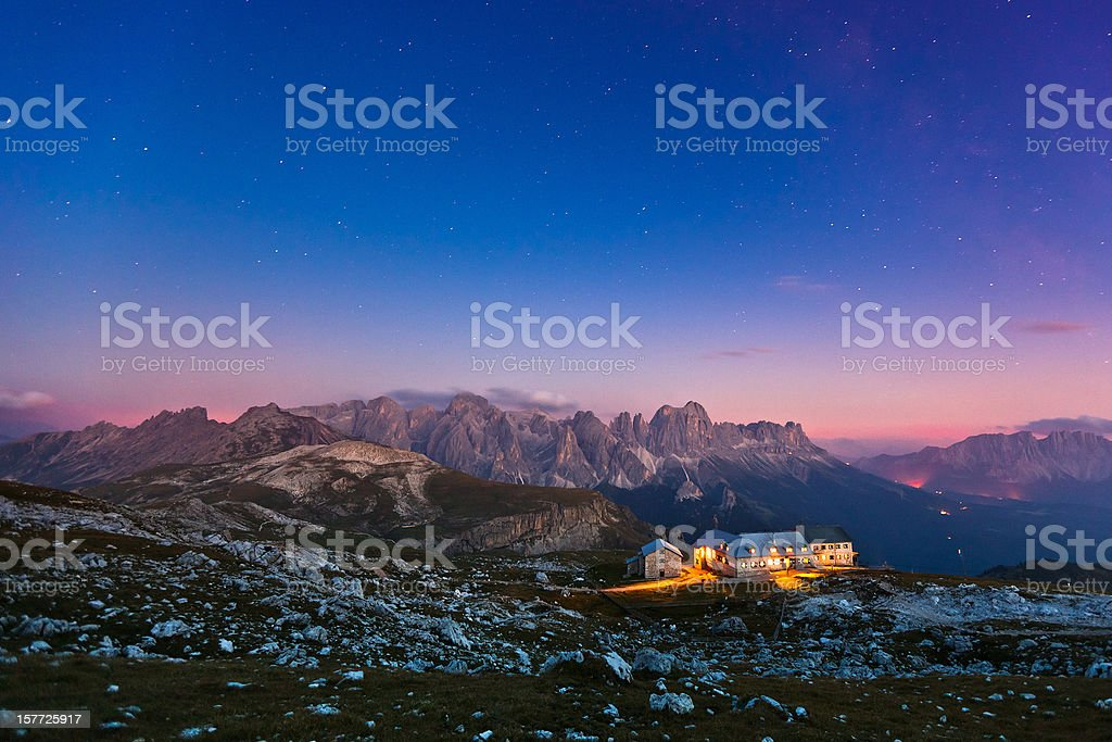 Hut in the Alps by Night, Star Field, Milky Way stock photo