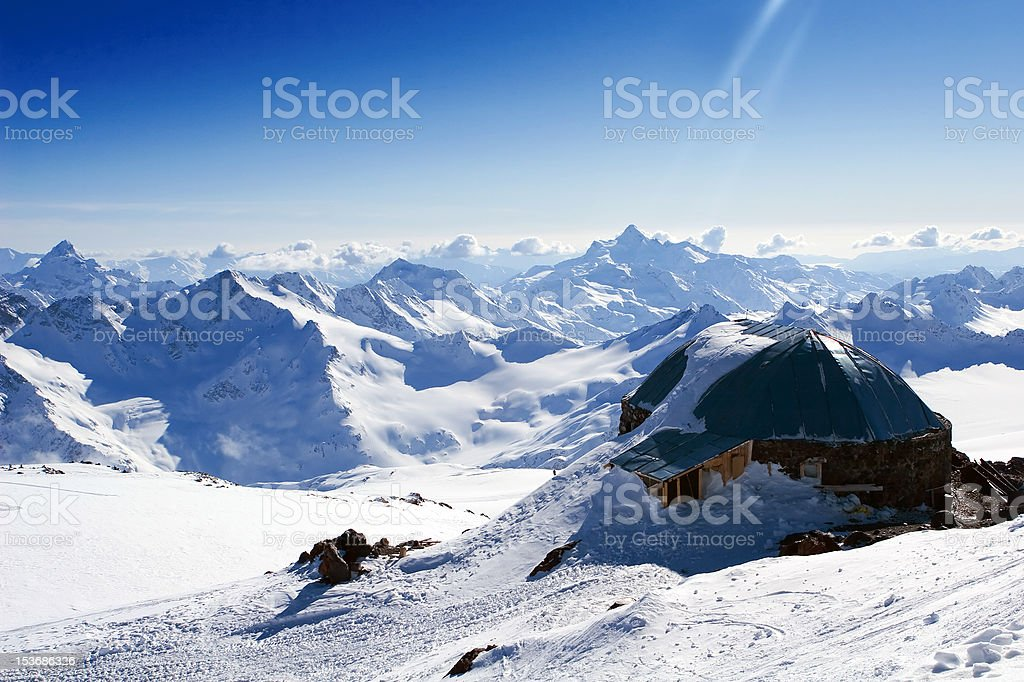 Hut in the mountains royalty-free stock photo
