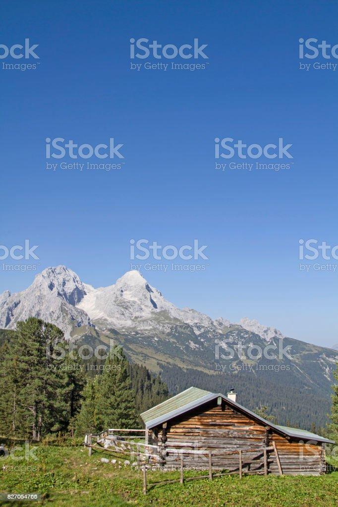 Hut in Wetterstein Mountains stock photo