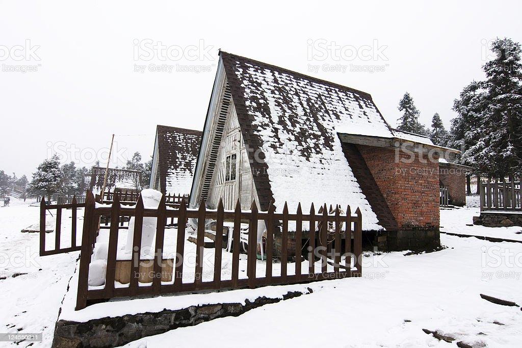 Hut in winter stock photo