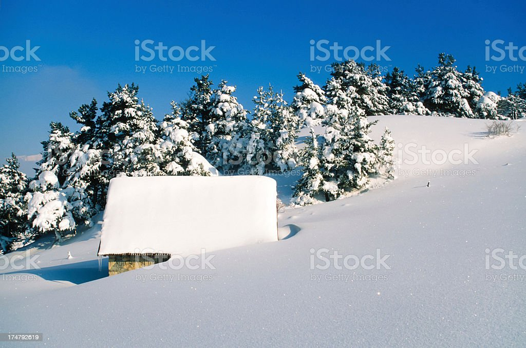 Hut in winter royalty-free stock photo