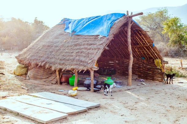 Hut of straw stock photo
