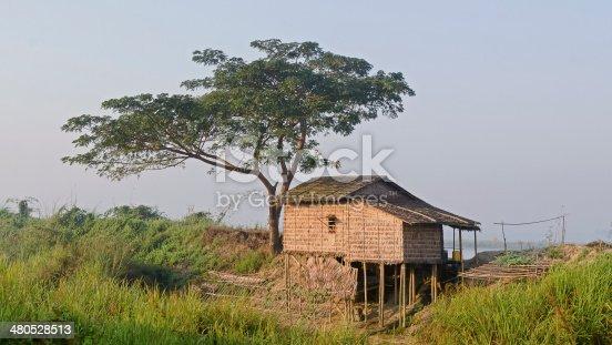 Hut on stilts. Myanmar