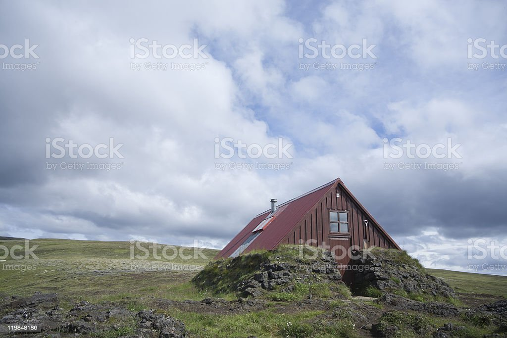 Hut Skælingar (plural) in Iceland stock photo