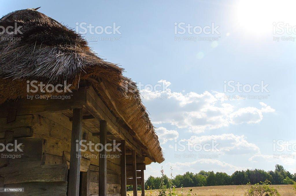 hut sky sun stock photo