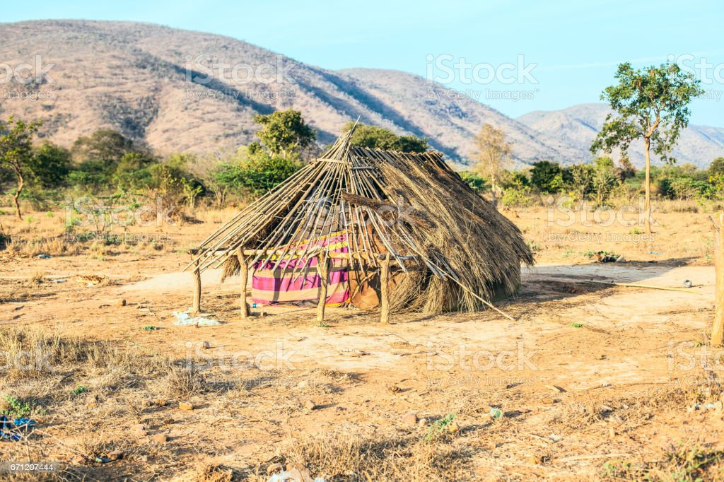 Hut with thatched roof stock photo