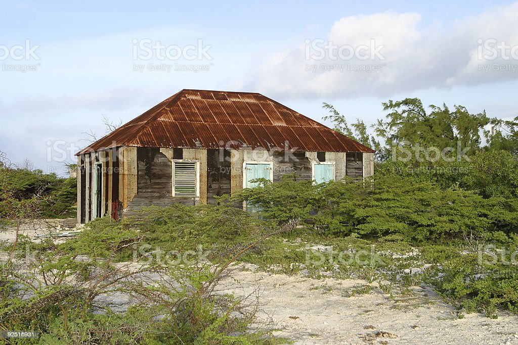 Hut with Tin Roof stock photo