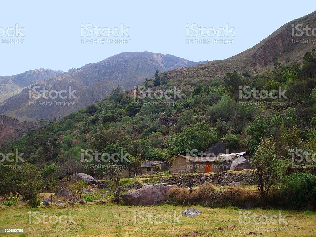 huts at Colca Canyon stock photo