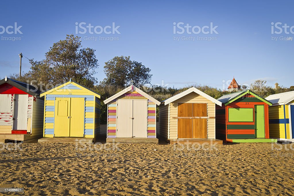 Huts in a row royalty-free stock photo